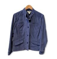 LL Bean Women's Large Blue Corduroy Jacket Shacket Pockets Work Chore Barn Coat