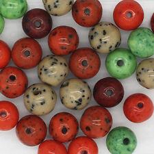 Czech Glass Mellow Speckle 9mm Bead Mix Earthy Color Mix pk/30