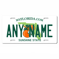 US Metal License Plate - Florida V2 - Customise your own plate