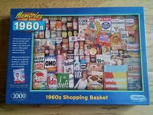 gibsons jigsaw puzzles 1000 piece 1960s shopping basket brand new and sealed