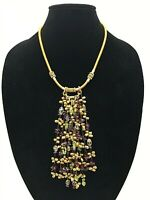 Citrine, Peridot & Garnet Gemstone Waterfall Necklace, Artisan Woven Gold Tread
