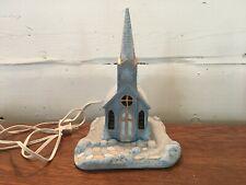 Vintage 1984 Scioto 2 Piece Ceramic Lighted Christmas Church Stain Glass Windows