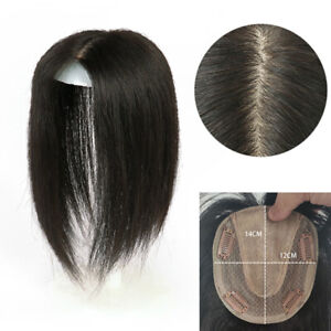 Women  Long Straight Mono Base Human Hair Topper Large Cover Loss Hair 12*14cm