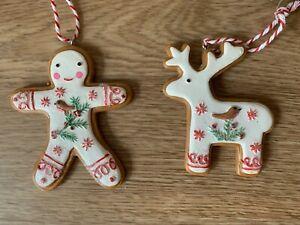 Gisela Graham Nordic 'Iced' Gingerbread Resin Man and Reindeer