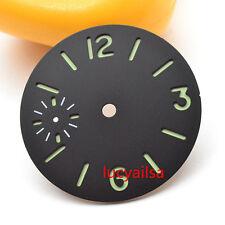 Parnis 34.5mm vert lumineux cadran noir pour eta 6497 seagull st36 mouvement P13