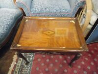 Vintage Marquetry Table with Removable Glass Top  LOCAL PICK UP ONLY