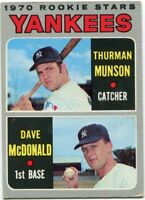 Thurman Munson & Dave McDonald 1970 Topps Rookie Card