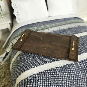 """Dollhouse Miniature Breakfast Bed Serving Tray Coffee Table Wood 1"""" scale 1:12"""