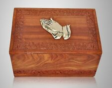 Wooden Cremation Urn w Brass Praying Hand-Large, Rosewood Carved, Great Deal!!