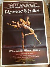 More details for original 1966 film poster for romeo & juliet dame margot fonteyn & rudolfnureyev