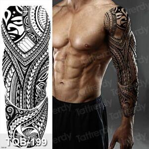 Temporary Tattoo Men Large Waterproof  Arm Sleeve Black Mechanical Tattoo Tribal