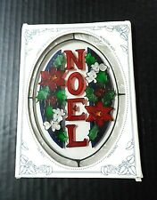 "Sun Catcher Christmas 8"" Glass Art Stained Noel Suncatcher Xmas Joan Baker"