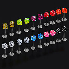QUALITY NEW 20X CUBE DICE LIP EAR STUDS RINGS TRAGUS LABRET BODY PIERCING BARS