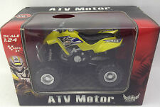 ATV Motor Quad Bike Toy Yellow Black Alpha Speed Scale 1:24 Ages 3+ Pull Back Ac