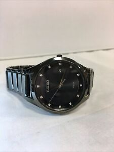 Seiko Solar Men's Diamond Stainless Steel Black Ion Watch - SNE243  MSRP: $395