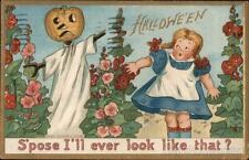 Halloween 1915 Jack O'Lantern Scarecrow: Hallwe'en Tuck Postcard 1c stamp