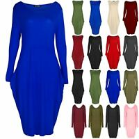 Ladies Womens Lagenlook Side Pockets Long Sleeve Italian Drape Baggy Midi Dress