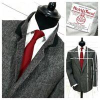 """⭐ mens Vintage HARRIS TWEED Herringbone wool overcoat blazer jacket size 42-44"""""""