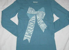 Girls S 5/6 LIFE IS GOOD L/S Giving Ribbon Tee Shirt Turquoise Blue