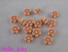 200 pcs Orange fimo polymer clay flower beads 8mm M403