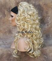 Light Blond 3/4 Fall Hairpiece Long Layered Curly Blonde Half Wig Hair Piece