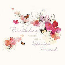 "SPECIAL FRIEND BIRTHDAY CARD ""BUTTERFLIES/FLOWERS"" SIZE 6.25"" x 6.25""  NEHI 0016"