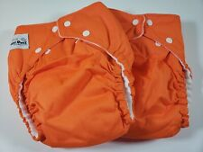 "2 Fuzzi Bunz Cloth Diapers ""Perfect Size"" w Inserts Large 25-45+ lbs Orange Nwot"