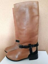 Ladies Ravel Tan Brown Black Flat Low Heel Riding Flat Knee High Boots UK Size 4