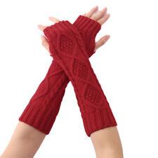 Women Arm Warmer Winter Long Fingerless Gloves Half Finger Knitted Wrist Mittens