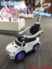 Ride On Toy Push Car Stroller Mercedes Kids Child Toddler LED Light Handle White