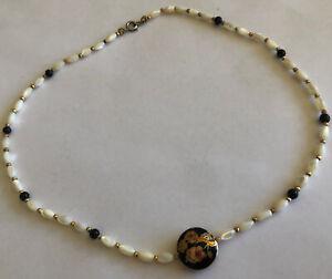 Vintage 1990's Glass Bead Cloisonné Collar Necklace Choker Dainty