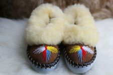 WOMENS LADIES SHEEPSKIN  NATURAL LEATHER & SHEEPS WOOL HANDMADE WARM SLIPPERS