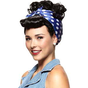 Rosie The Riveter Wig (Choose Your Color) Bandana Curly Red Black Adult Costume