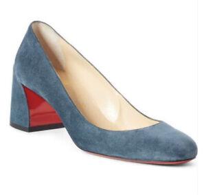 Christian Louboutin US 8.5 MISS SAB 55 Suede Heels Pumps Shoes Tempete Blue $695