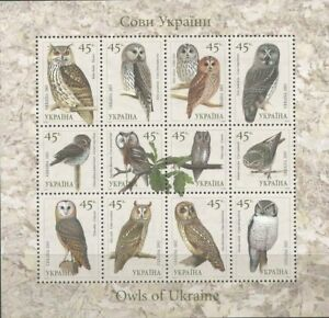 UKRAINE - 2003 - Owls - Sheet of 9 stamps - MNH