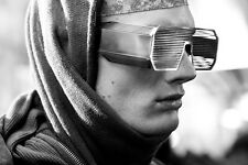NEW Boris Bidjan Saberi x Linda Farrow Shutter Silver Slit Sunglasses