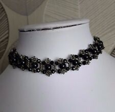 "Pearl & Crystal Beaded CHOKER necklace VINTAGE style BLACK glass 13"" gothic"