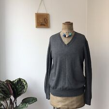 NICOLE FARHI Charcoal Grey V-Neck Long Sleeved Wool Cotton Jumper Sweater Size M