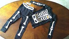 New Boys Gap Skeleton Bones Black Long Sleeve Pants Pajamas Size 2t