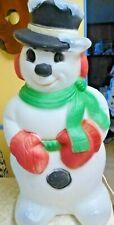 """Vintage Light-Up Hard Plastic Blow Mold Snowman lawn Ornament Decoration 32"""""""