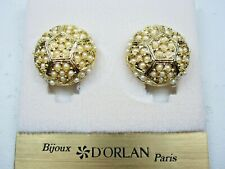Earrings with Pearls 1735 D'Orlan Gold Plated Clip-on