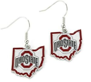 Ohio State Buckeyes State Design NCAA Silver Dangle Earrings Hypo-Allergenic