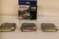 Genuine Epson 1- 220 Ink Black  1-Magenta 2-Yellow  Lot of 4 NEW Exp 2/2020