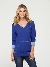 Roxy Hood Pullover Sweater Small Frosted Forests Cobalt Blue