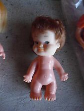 "Vintage 1960s Small Vinyl Little Girl Character Doll 3 1/2"" Tall"
