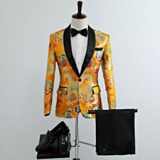 Men Costume Suits Shawl Collar Dragon Printing Lapel Blazer Jackets Pants 2Pc Sz