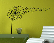 Music Dandelion Wall Decal Musical Notes Vinyl Sticker Home Wall Art Decor 10mc