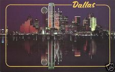 Original Vintage 1980s Texas PC- Dallas- Skyline at Night- Reflection- 1987