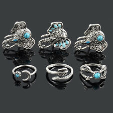 6PCS Charming Retro Unisex Tibetan Alloy Turquoise Ring Adjustable Jewelry Gifts
