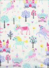 Unicorn fabric pink castles  fabric 100% Cotton Fabric sewing quilting fabric